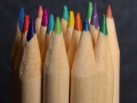 Pens, Color, Colored Pencils, Crayons, Close, Brush