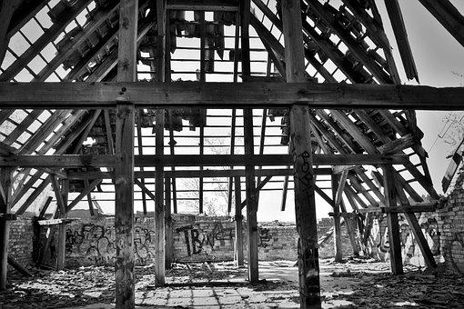 Lost Places, Ruin, Roof Truss, Pforphoto, Lapsed