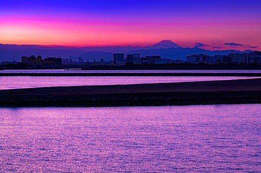 Mt Fuji, Sea, Water, Sunset, Sea Of Clouds, At Dusk