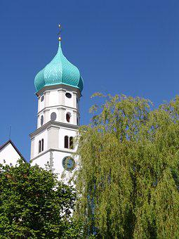 Church, Bavaria, Sky, Catholic, Steeple, Germany, Tower