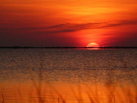 Sunset, Sunrise, Beach, Ocean, Grass, Sun, Sky, Nature