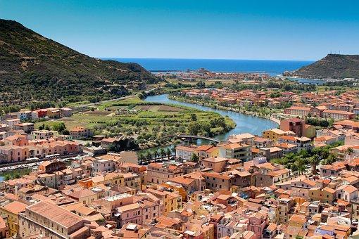 Bosa, Italy, City, River, Sea, Sunshine, Italian