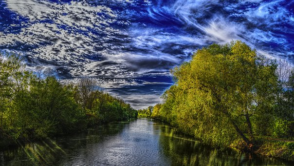 River, Trees, Bank, Landscape, Nature, Water, Mirroring