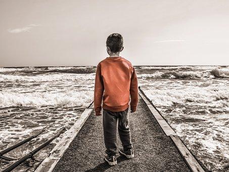 Boy, Child, Life, Childhood, Sea, Waves