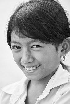 Portrait, Black And White, Human, Girl, Women's