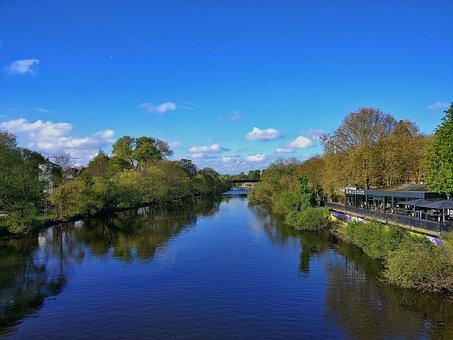 Casting, Lahn, Sky, Water, Blue, River, Bach, Mirroring