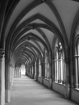 Dom, Trier, Cloister, Black And White, Church