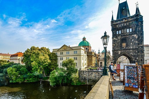 Prague, Charles, Bridge, Vendor, Street, Outdoor, Sunny