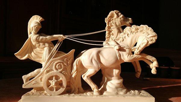Sculpture, Char, Roman, Alabaster, Horse, Horses