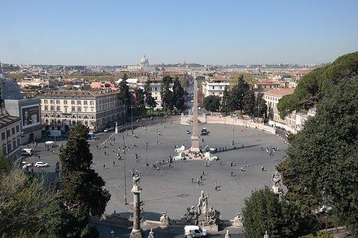 Rome, Piazza Del Popolo, Fontana, Monument