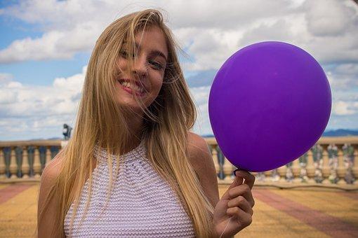 Woman, Balloon, Purple, Lilac, Happy, Hair