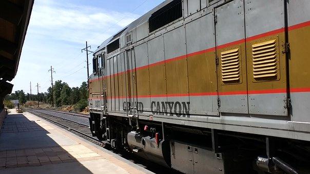 Grand Canyon, Train, Depot, Locomotive, Railroad