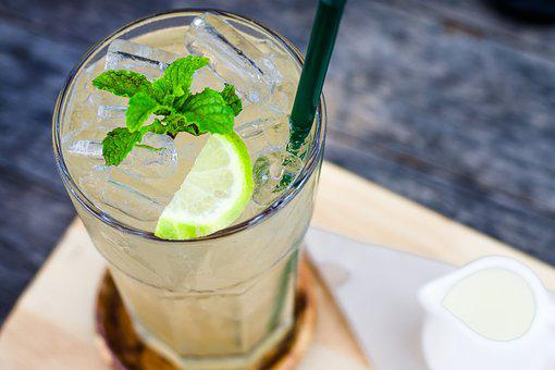 Beverage, Lemon, Mint Leaves, Ice, Glass, Coffee Shop