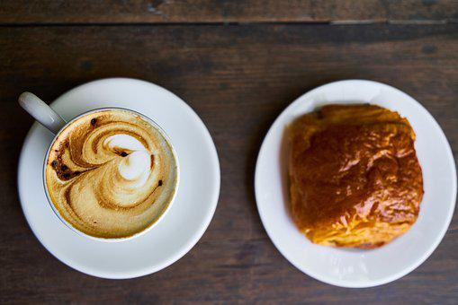 Coffee, Croissant, Latte, Morning, Food, Background
