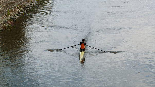 Boat, Row, Sport, Water, Rowing, Rowboat, Man, Paddle