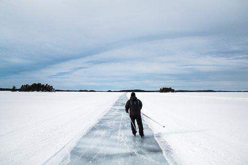 Skating, Winter, Ice, Snow, Lake, Finnish, Saimaa