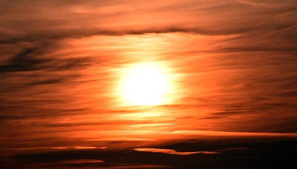 Sunset, Sun, Abendstimmung, Sea, Setting Sun, Sky