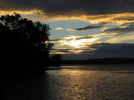 Sunset, Lake, Abendstimmung, Romance, Evening, Twilight