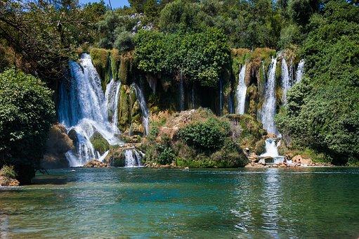 Waterfall, Water, Kravice, Nature, Stream, Landscape