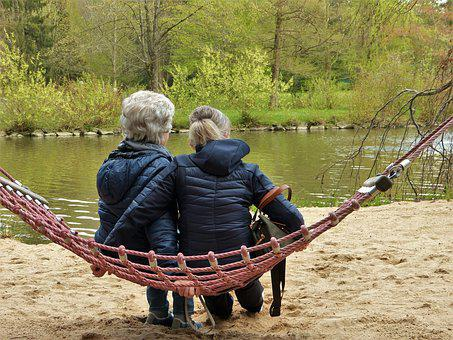 Women, Hammock, Pond, Age, Pensioners, Grow Old
