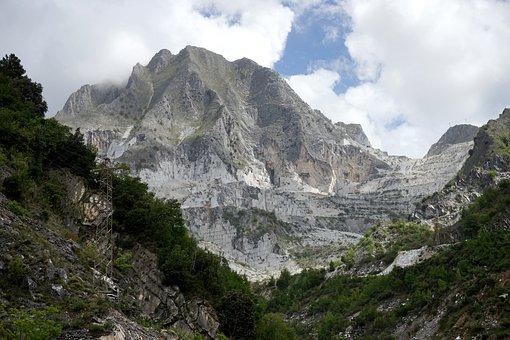 Mountain, Marble, Carrara, Clouds, Tourism, Landscape