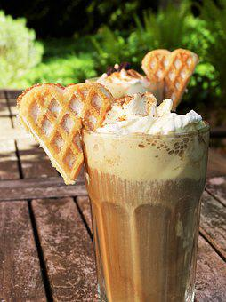 Iced Coffee, Ice, Ice Cream, Cream, Waffle, Heart