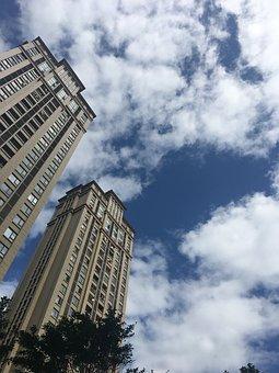 Tall Buildings, Look, Blue Sky, White Cloud