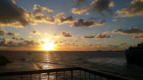 Sunrise, Ferry, Canary Islands, Sea, Holiday, Travel