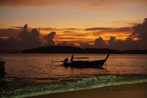 Saber, Ao Nang, Thailand, Sea, Sunset, Wave, Ship, Boat