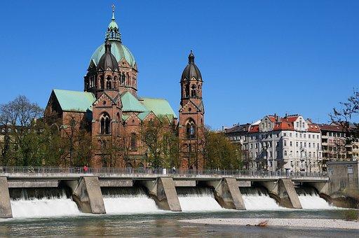 Munich, Luke's Church, Isar, Water, Bavaria