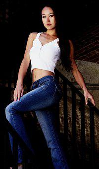 Asian, Girl, Stairs, Crop Top, Jeans, Hair