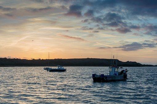 Boat, Sunset, Ship, Sail, Lake, Nature, Sea, Water, Sky