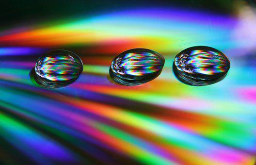 Drops, Cd, Abstract, Macro, Disc, Technology, Dvd
