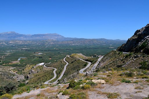 Crete, Mountains, Streets, Curves, Road, Curve, Greece