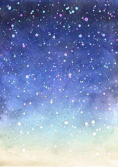 Dream, Fairy Tale, Starry Sky, Watercolor, Blue, Purple