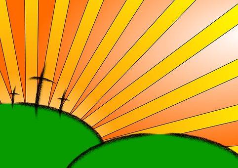 Easter, Cross, Sunburst, Sun, Christian, Christianity