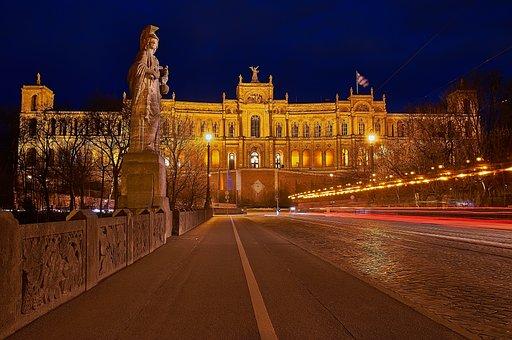 Maximilianeum, Munich, Light Trail, Isar