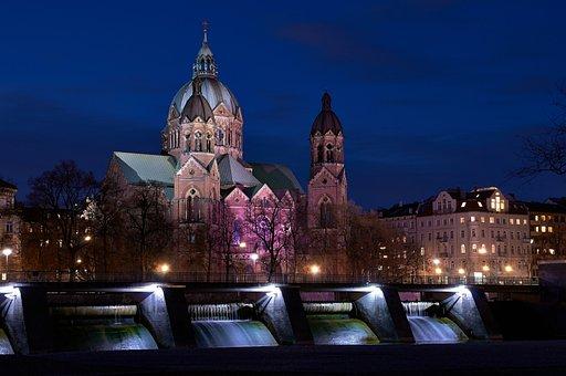 Luke's Church, Isar, Munich, Bavaria, Night Photograph