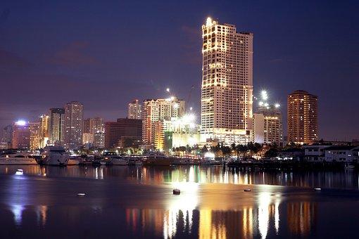 Manila, Manila Bay, Big City, Night, Skyscraper, City