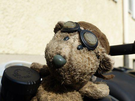 Bear, Motorcycle, Glasses, Remove Before Flight, Brown