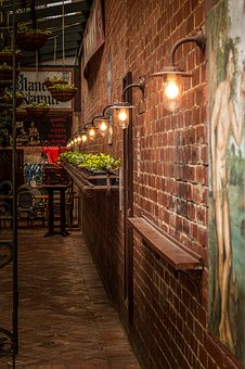Lane, Lights, Old Fashioned, Brick Wall, Mural, Plants
