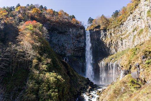 Nikko, Kegon Waterfall, Autumn Leaves, Foliage