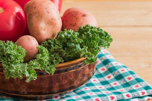 Kale, Potatoes, Colorful Vegetables, Tomato, Eating