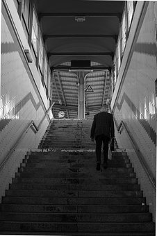 Railway Station, Stairs, Architecture, Building, Human
