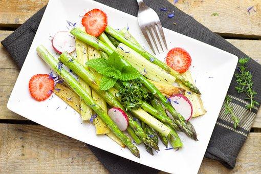 Asparagus, Strawberry, Rhubarb, Salad, Vegetarian