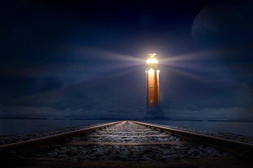 Lighthouse, Glow, Night, Gleise, Sea, Photo Montage