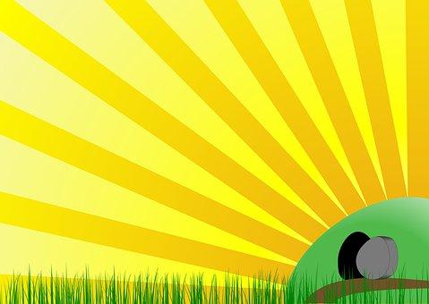 Easter, Tomb, Stone, Sunday, Sunburst, Sun, Christian