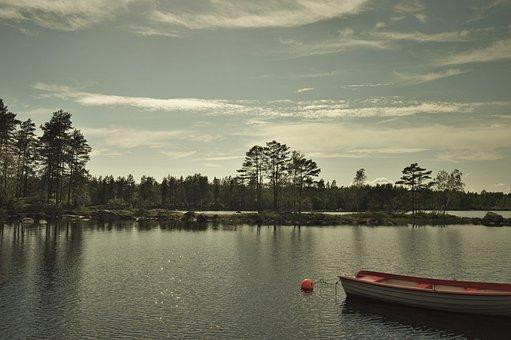 Boat, Water, Lake, Summer, Evening, Sunset, Sweden