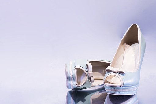 Shoes, Wedding, White, Vintage, Step
