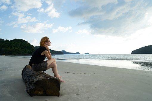 Loneliness, Women's, Beach, Portrait, Tired, Human